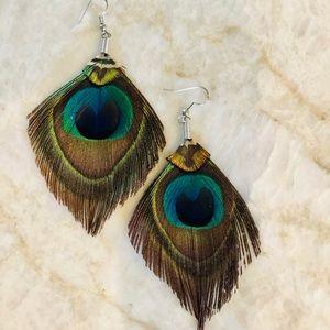Peacock Feather Dangling Earrings